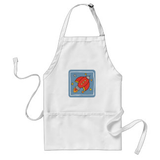 Red Cartoon Rocket, Spaceship with stars Adult Apron