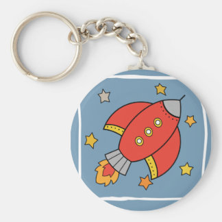 Red Cartoon Rocket, Spaceship with stars Keychain