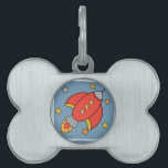 "Red Cartoon Rocket, Spaceship with stars Pet ID Tag<br><div class=""desc"">A Red Cartoony Rocket / Spaceship with stars. On a blue background.</div>"