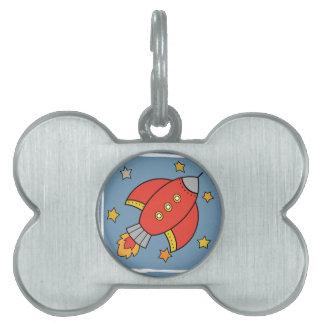 Red Cartoon Rocket, Spaceship with stars Pet ID Tag