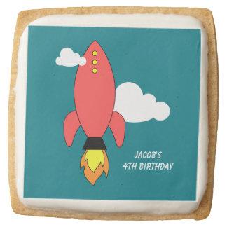 Red cartoon rocket square shortbread cookie