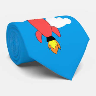 Red cartoon rocket tie