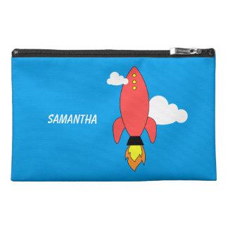 Red cartoon rocket travel accessory bag