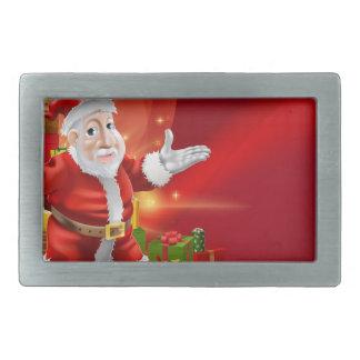 Red cartoon Santa Background Rectangular Belt Buckles