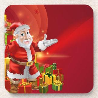 Red cartoon Santa Background Beverage Coaster