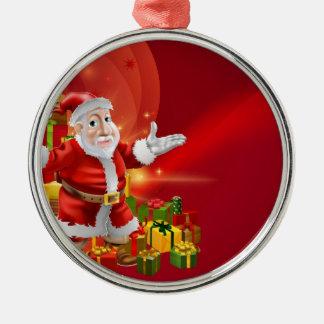 Red cartoon Santa Background Christmas Ornament