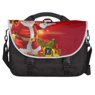 Red cartoon Santa Background Commuter Bags
