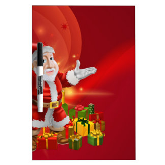 Red cartoon Santa Background Dry Erase Whiteboard