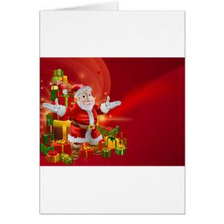 Red cartoon Santa Background Greeting Cards