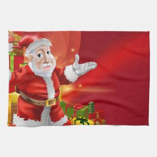 Red cartoon Santa Background Hand Towels