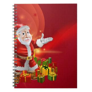Red cartoon Santa Background Notebooks