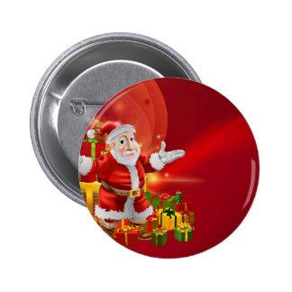 Red cartoon Santa Background Pin
