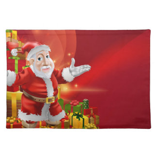 Red cartoon Santa Background Placemat