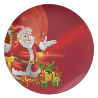 Red cartoon Santa Background Plate