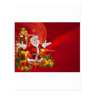 Red cartoon Santa Background Post Card