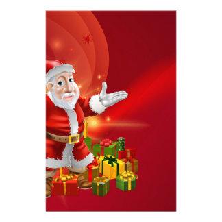Red cartoon Santa Background Stationery Design