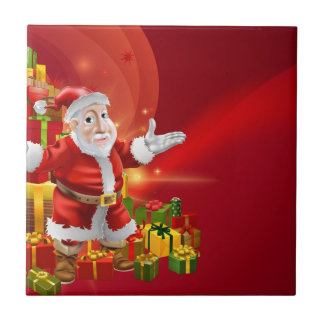 Red cartoon Santa Background Tiles