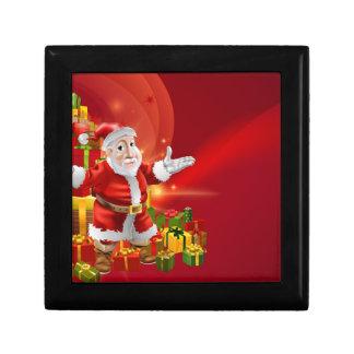 Red cartoon Santa Background Trinket Boxes