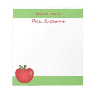 Red Cartoon School Apple With Custom Name Note Pads