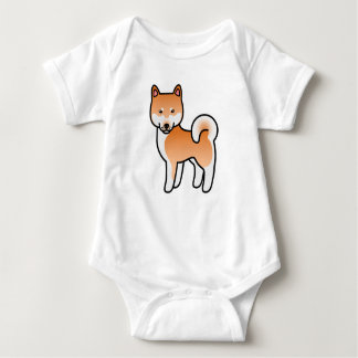 Red Cartoon Shiba Inu Baby Bodysuit