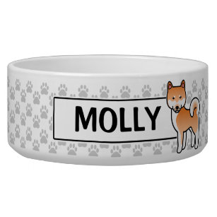 Red Cartoon Shiba Inu Bowl