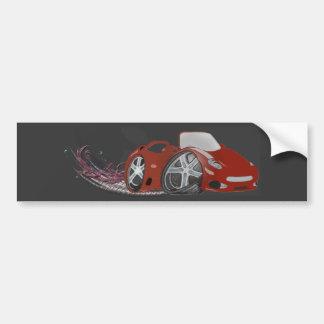 Red Cartoon Sports Car Art Bumper Sticker