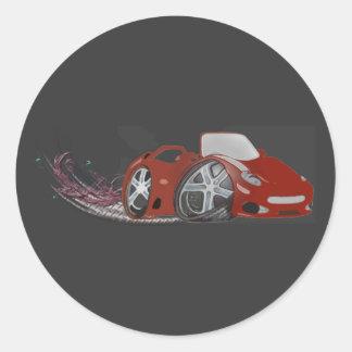 Red Cartoon Sports Car Art Classic Round Sticker