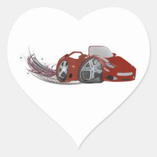 Red Cartoon Sports Car Art Heart Sticker