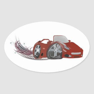 Red Cartoon Sports Car Art Oval Sticker