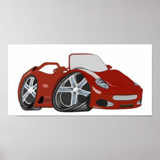 Red Cartoon Sports Car Art Poster