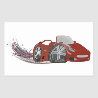 Red Cartoon Sports Car Art Rectangular Sticker