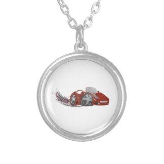 Red Cartoon Sports Car Art Round Pendant Necklace