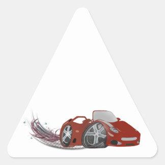 Red Cartoon Sports Car Art Triangle Sticker