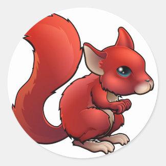 Red Cartoon Squirrel Round Stickers