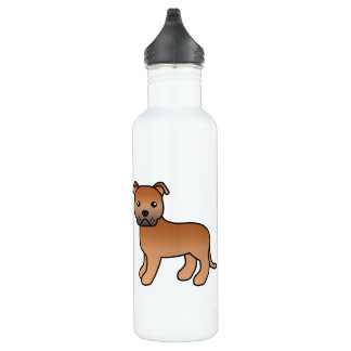 Red Cartoon Staffordshire Bull Terrier Water Bottle