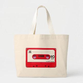Red Cassette Tape Jumbo Tote Bag
