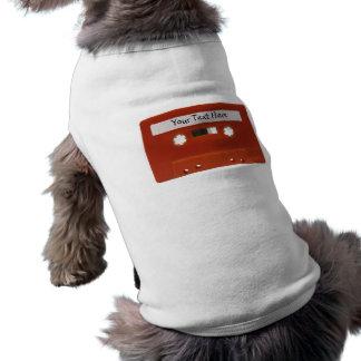 Red Cassette Tape Customizable Dog Shirt