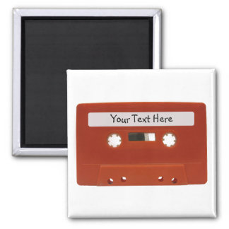 Red Cassette Tape Customizable Magnet