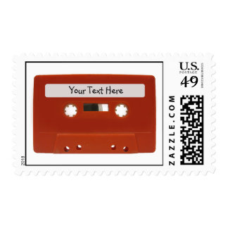 Red Cassette Tape Customizable Postage Stamps