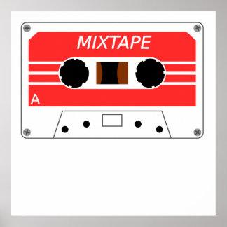 Red Cassette Tape Poster