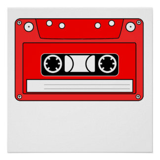 Red Cassette Tape Posters
