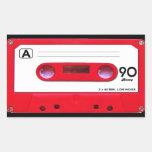 Red Cassette Tape Rectangular Stickers
