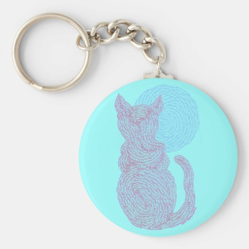 Red Cat And The Moon Art Key Ring Keychain