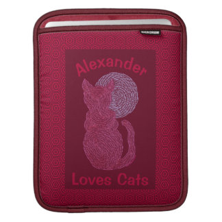 Red Cat And The Moon Cat Lover Feline Kitten Sleeve For iPads