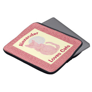 Red Cat And The Moon Cat Lover Feline Kitten Laptop Sleeve