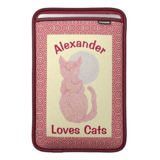 Red Cat And The Moon Cat Lover Feline Kitten MacBook Sleeves