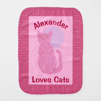 Red Cat And The Moon Cat Lover Feline Kitten Burp Cloth