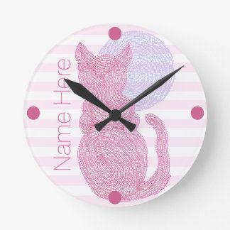 Red Cat And The Moon Cat Lover Personalized Round Clock