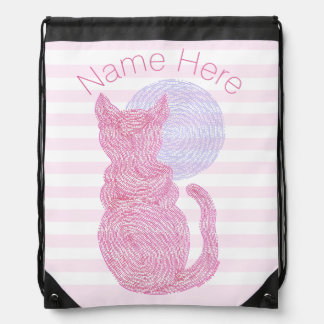 Red Cat And The Moon Cat Lover Stripes Drawstring Bag