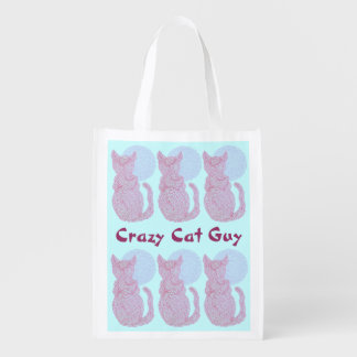 Red Cat And The Moon Custom Crazy Cat Guy Reusable Market Tote